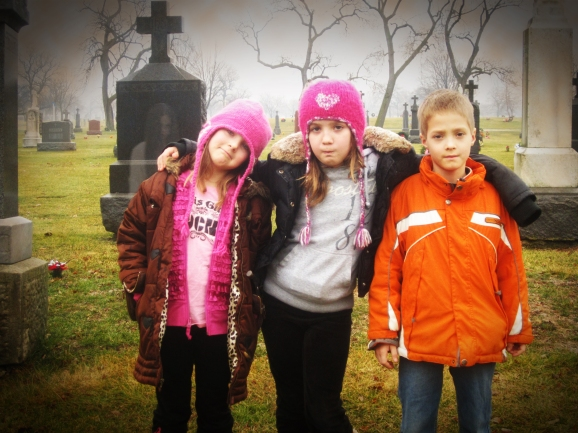 Kids in cemetery