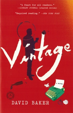 Cover of the novel Vintage by David Baker featuring a typewriter and a silhouette of the main character